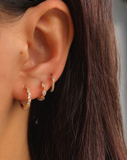 Pela Gold CZ Little Hoop Huggies Earrings