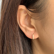 Simple White CZ Little Hoop Huggies Earrings