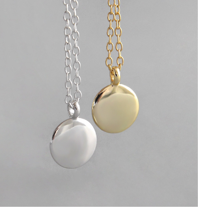 Plain Gold Disc Coin Necklace