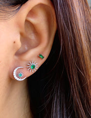 Green CZ Moon and Sun Silver Stud Earrings