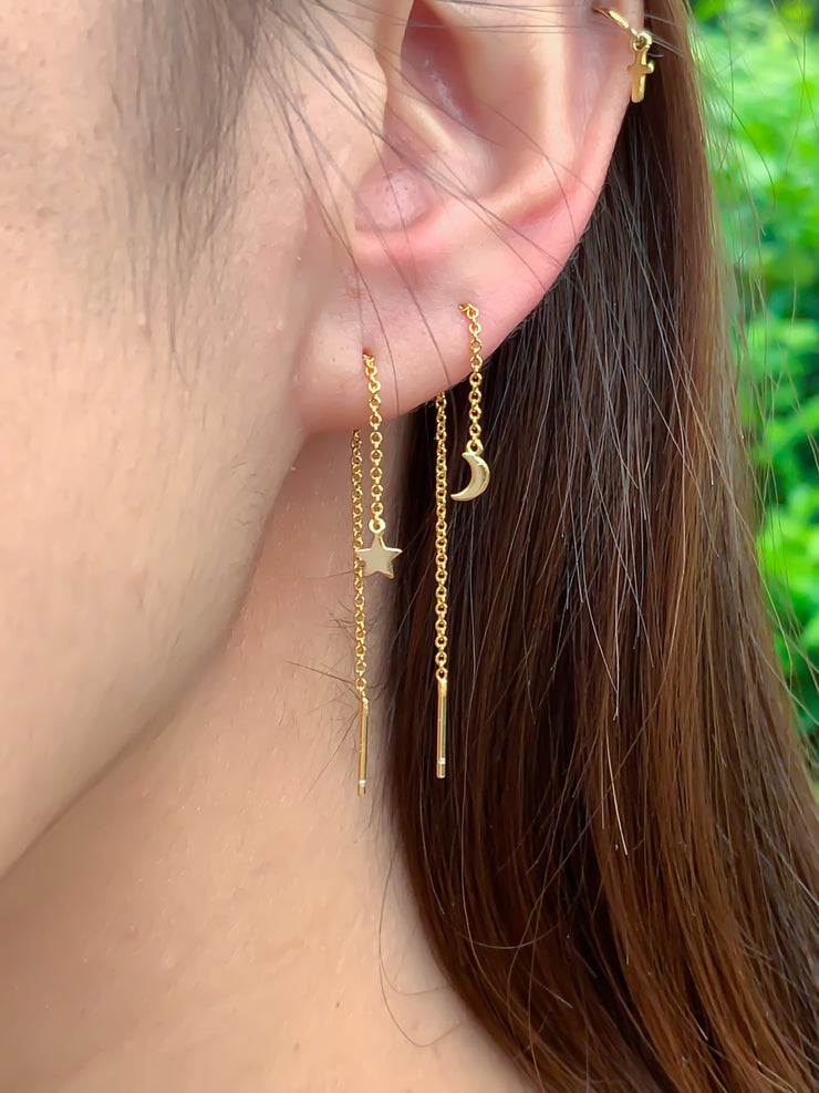 Moon and Star Gold Thread Earrings