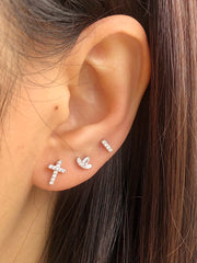 Cross Cz Silver Stud Earrings