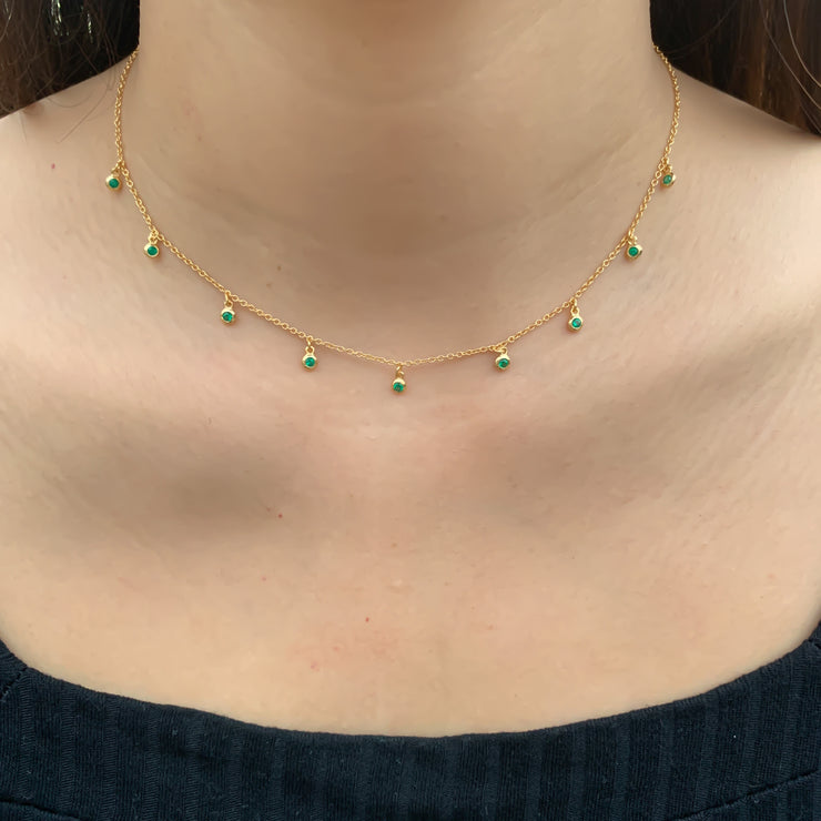 Green CZ Gold Choker Necklace