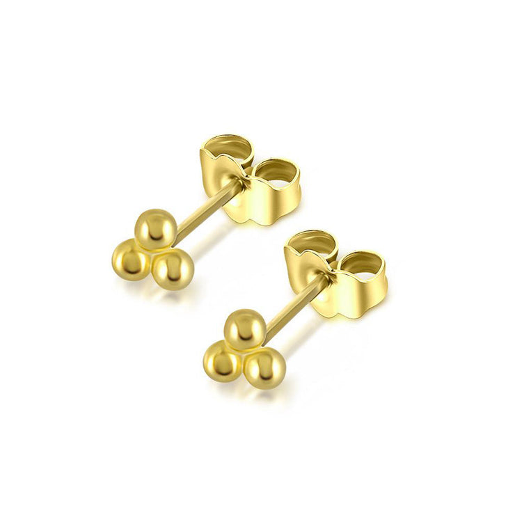 Three Bead Gold Stud Earrings