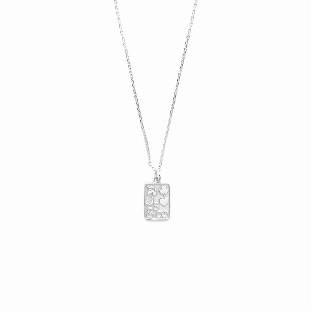 Stylish Square Silver Coin Necklace