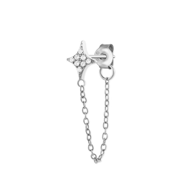 Shining Star Silver Chain Stud Earrings
