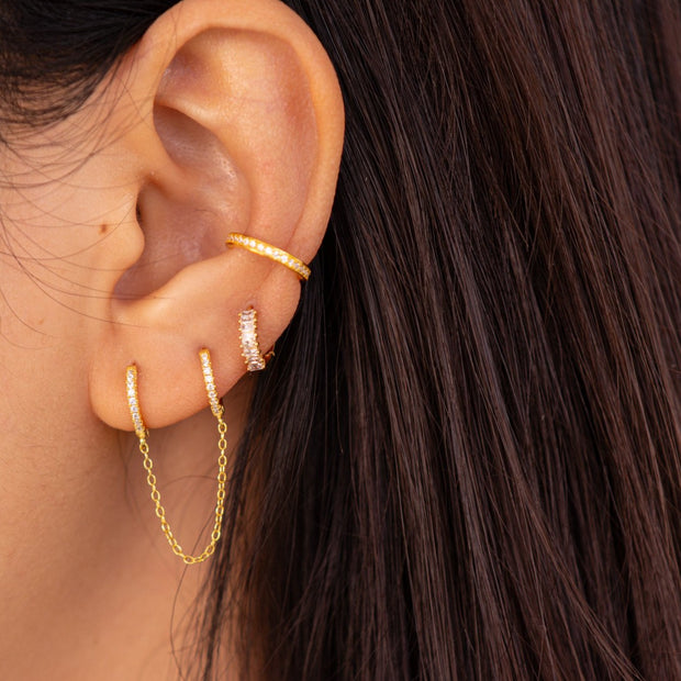 Double shining Dangle Hoop Huggies Earrings