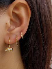 Rhinoceros Dangle Hoop Earrings