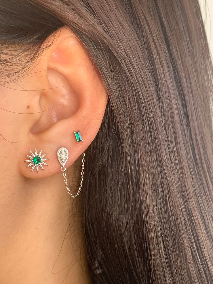 Green Cz Rectangle Stud Earrings