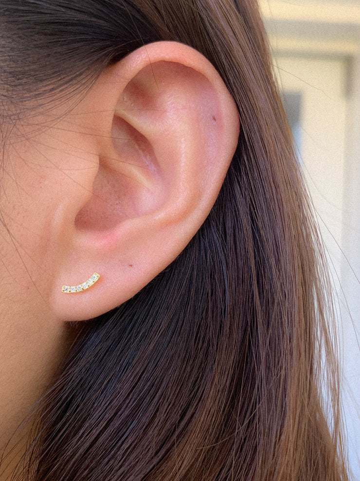 Arc with CZ Gold Stud Earrings