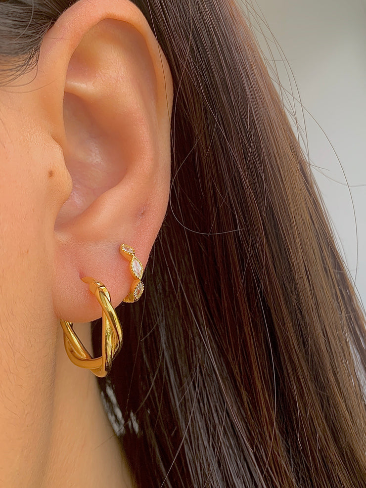 Big Stylish Hoop Twisted Gold  Earrings