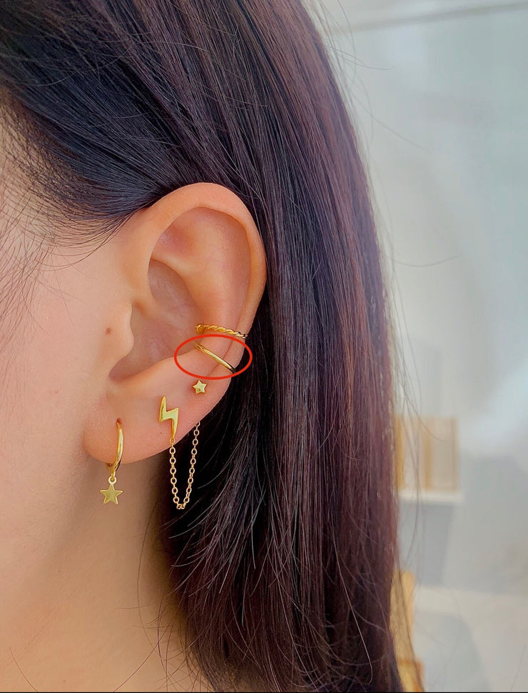 Simple C line  Plain Earcuff