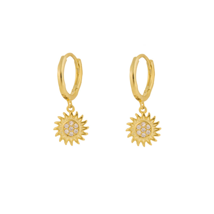 Shining Sun Flower Dangle Hoop Huggies