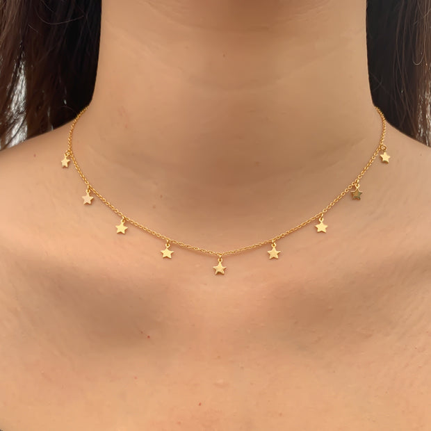Dangling Star Gold Choker Necklace