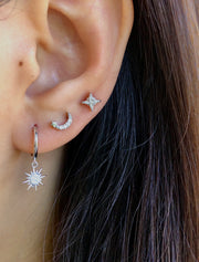 Cz Moon with Star Silver Stud Earrings