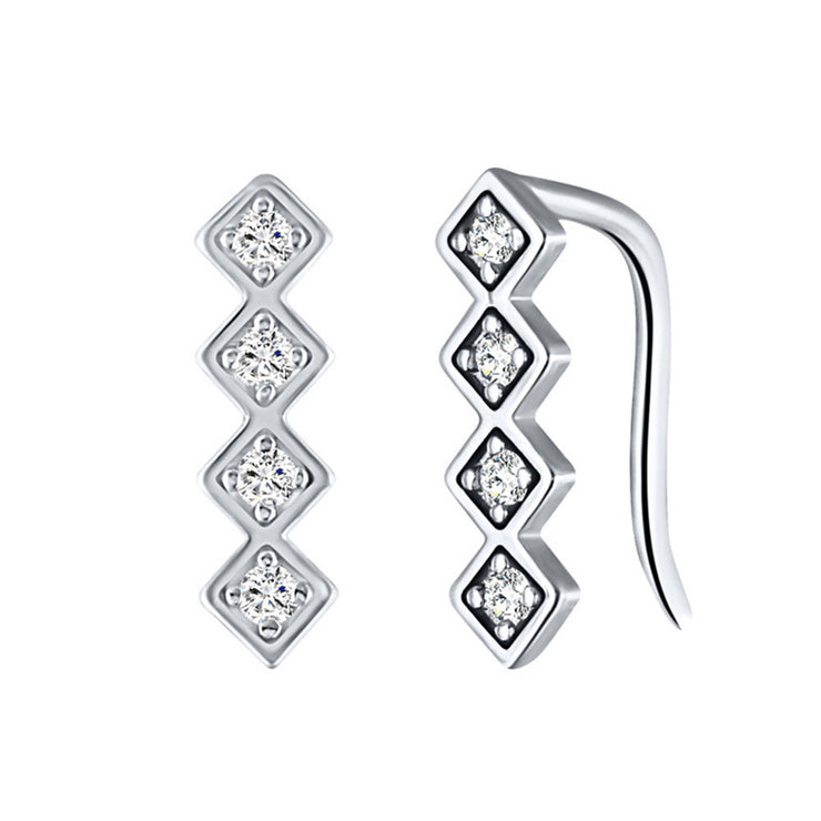 Four Cubic Zirconia Climber Stud Earrings