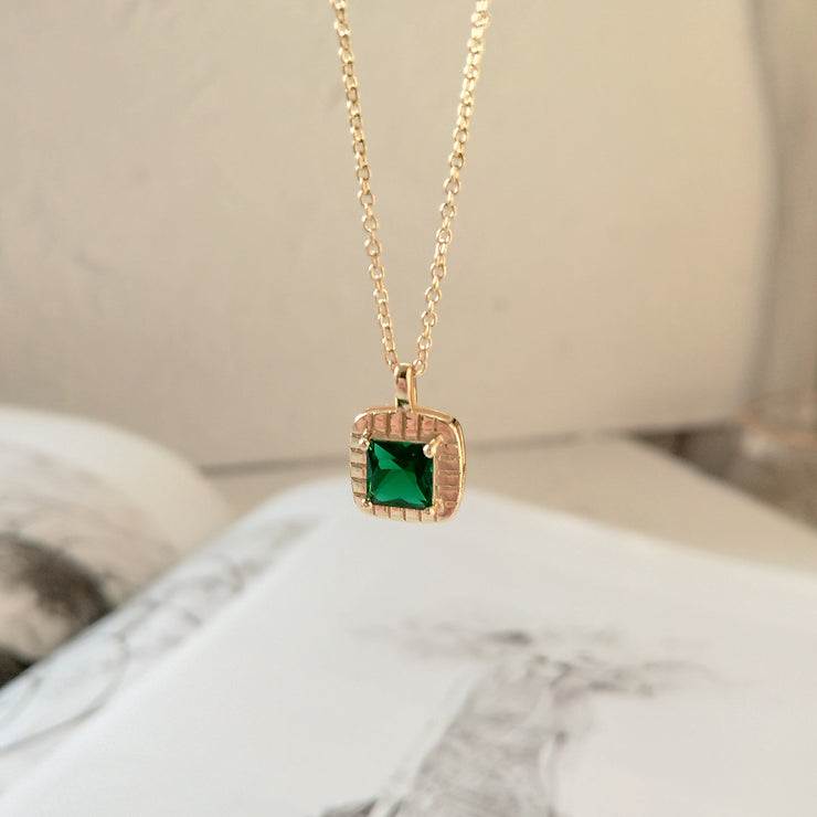 Green Cz Gold  Necklace