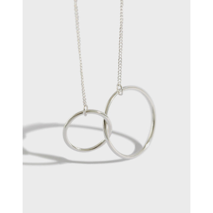 Double Circle  Silver Necklace