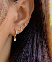Cz Moon with Star Eye Gold Stud Earrings