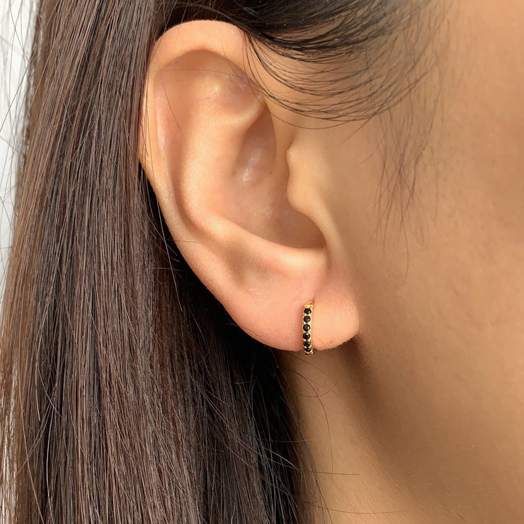 Simple Black CZ Little Hoop Huggies