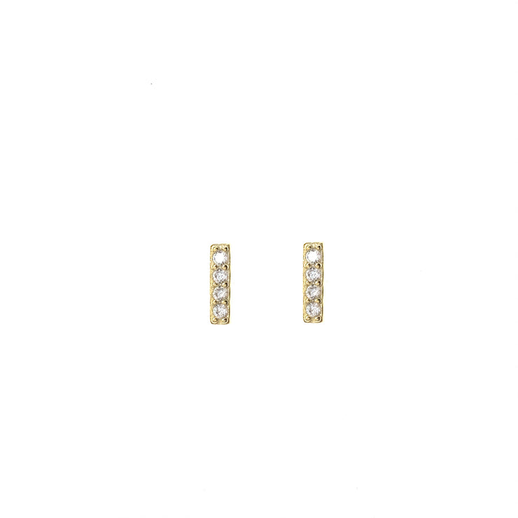 CZ Bar Gold Stud Earrings