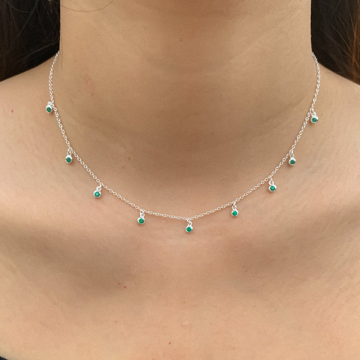 Green CZ Silver Choker Necklace