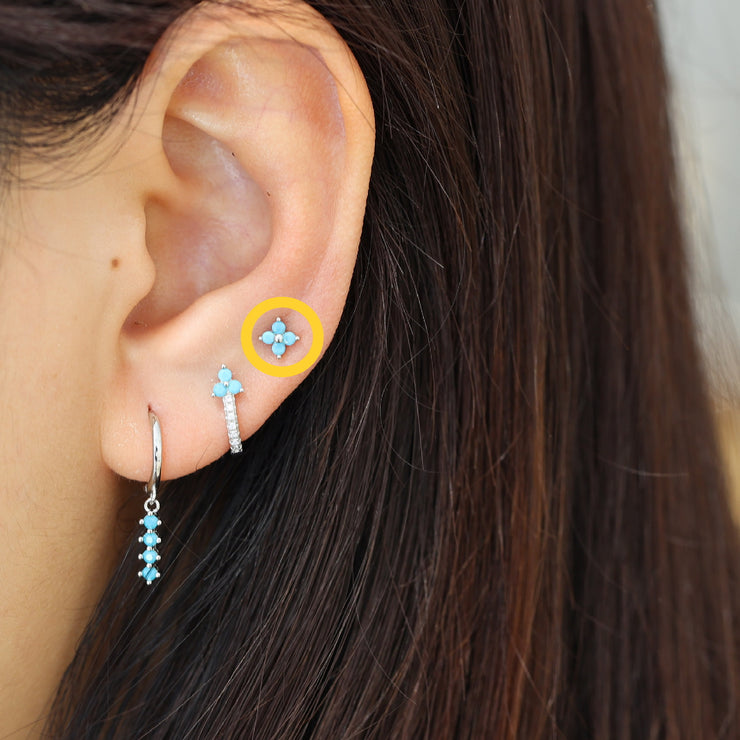 Turquoise Four CZ Flower Silver Stud Earrings
