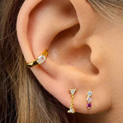 Three Claw CZ Dangle Stud Earrings