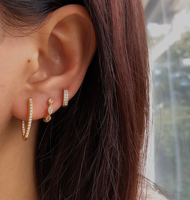 V Shape Shining Gold Stylish Hoop Earrings