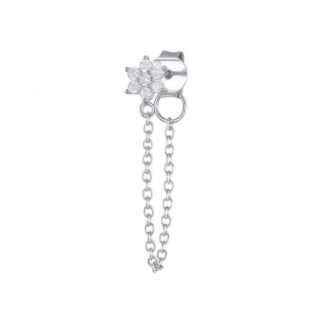 CZ Flower Silver Chain Stud Earrings