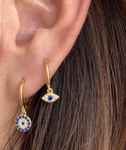 Evil Eye Dangle Hoop Huggies Earrings