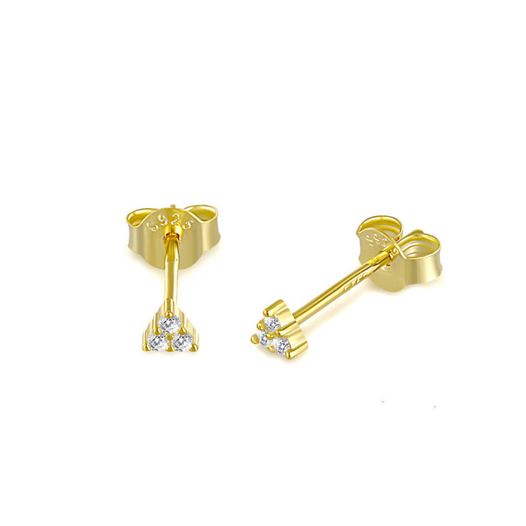Triangle Cz Gold Stud Earrings