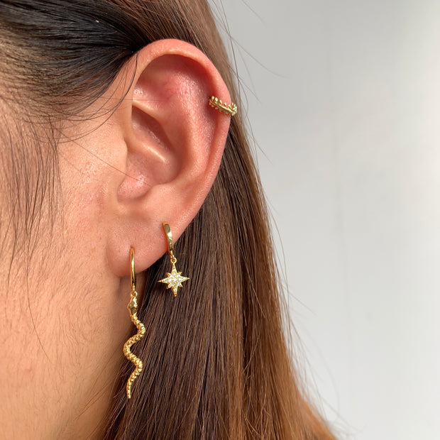 Snake Dangle Hoop Huggies Earrings