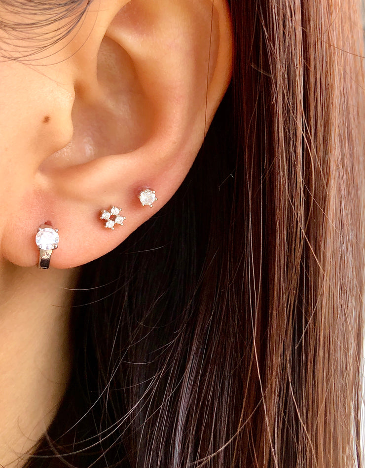 Four CZ Silver Stud Earrings