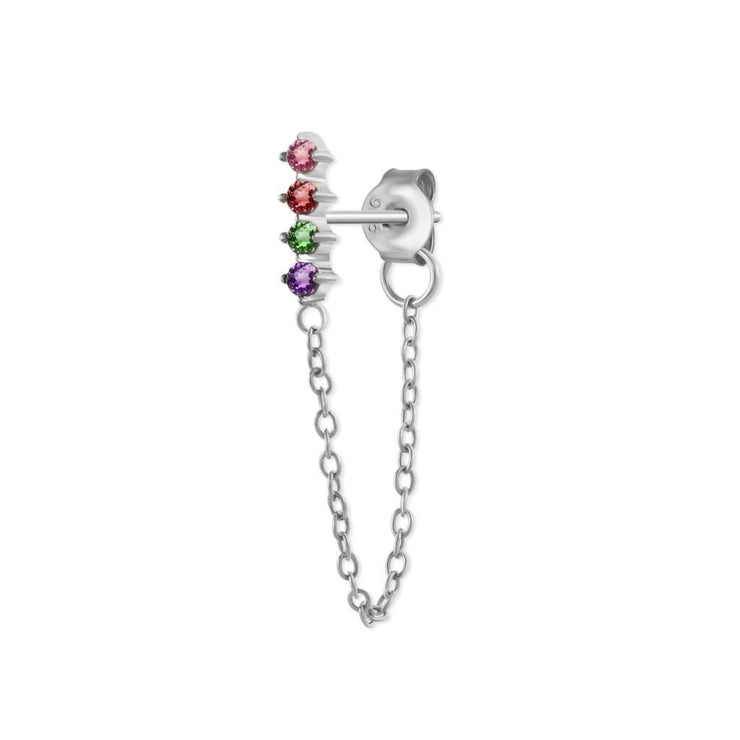 Rainbow Bar Silver Chain Stud Earrings
