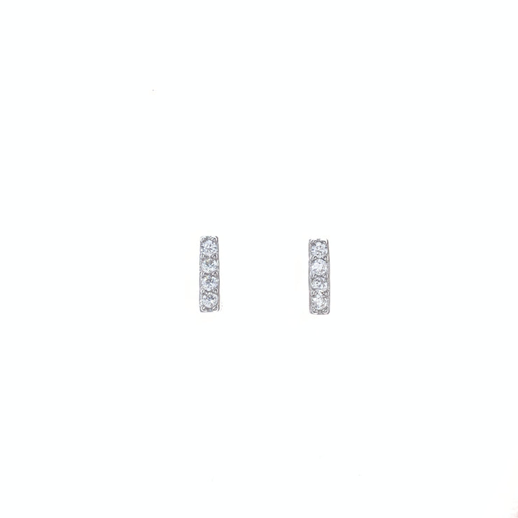 Bar with CZ Silver Stud Earrings