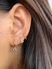 Evil Eye Hoop Huggies Earrings