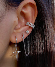 Shining Lightning And Star  Chain Stud Earrings