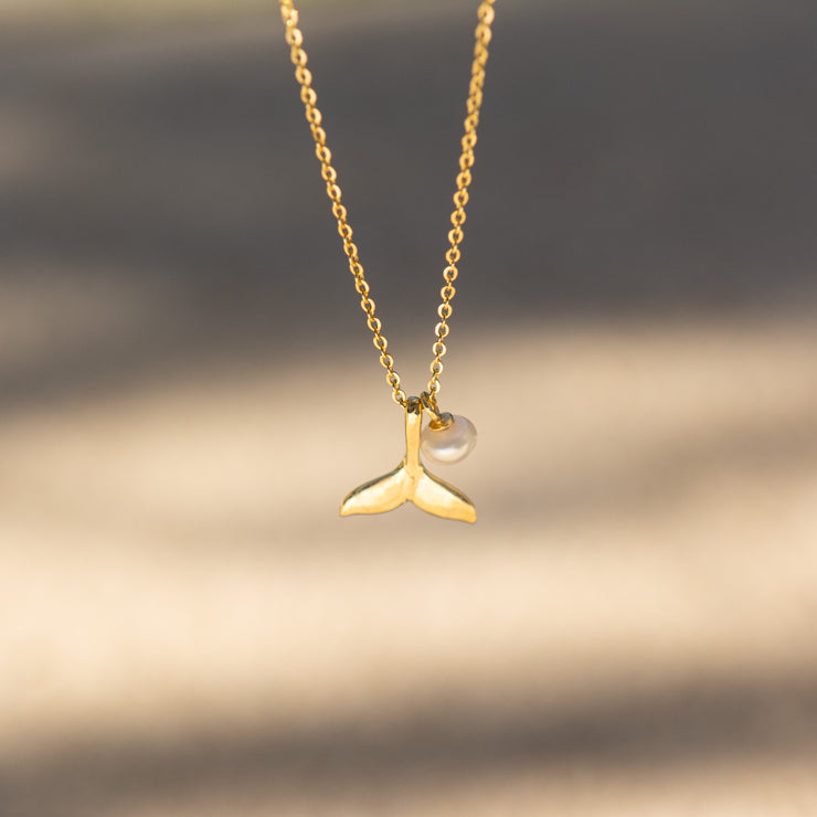 Whale Tail with Little Pearl Gold Necklace