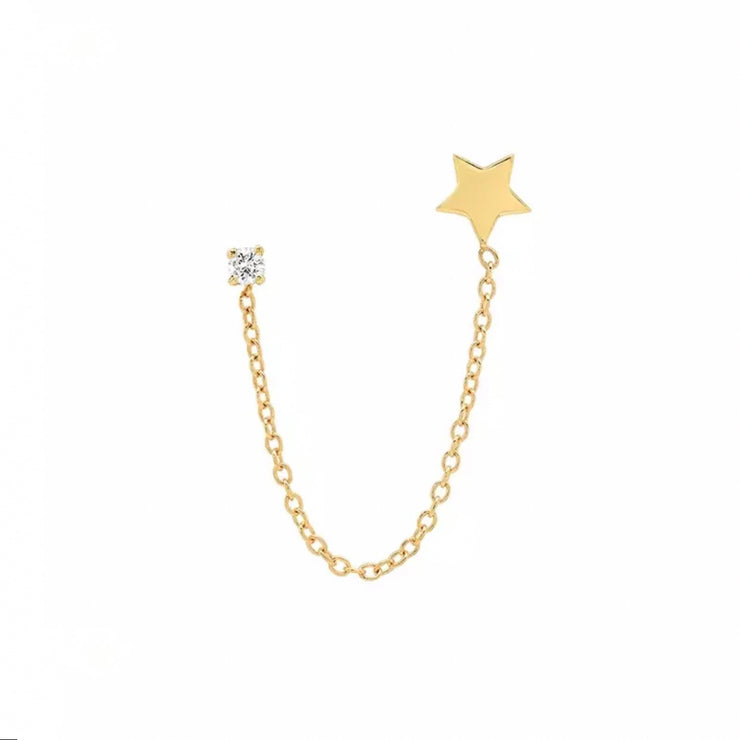 Shining Zirconia and Star Gold Chain Stud Earrings