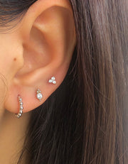 Circle CZ with Beads Silver Small Stud Earrings