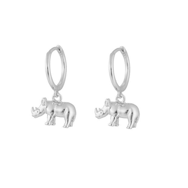 Rhinoceros Dangle Silver Hoop