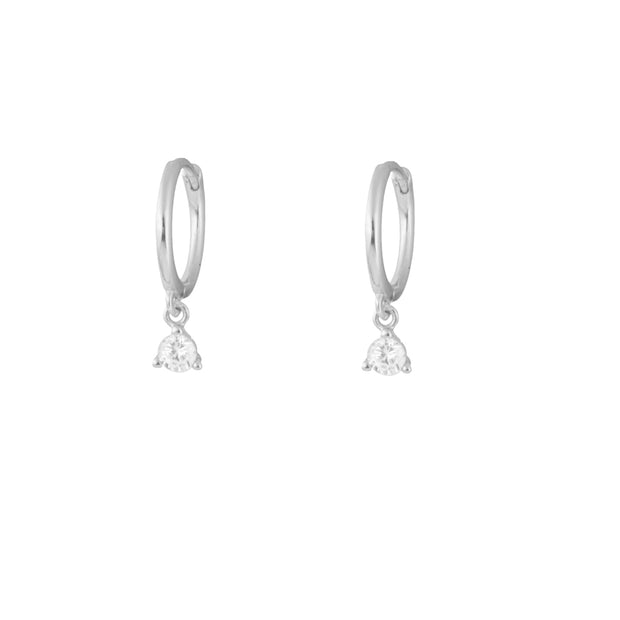 Three Claw Zirconia Silver Dangle Hoop Huggies