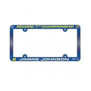 Jimmie Johnson  7 Time Champion Plastic License Plate Frame