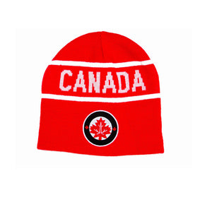 Canada Beanie Stretchable Tuque with blue circle embroidered patch