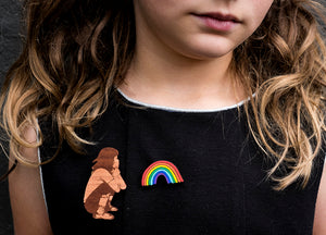 The girl who made rainbows, hand painted brooch set (girl with rainbow)
