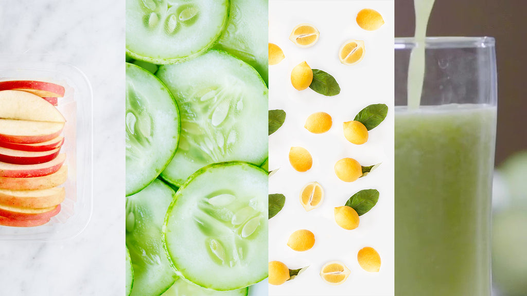 cucumber, apple, lemon slices= slimming juice