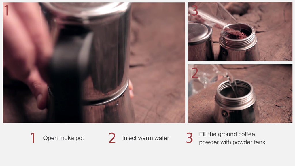three steps of make coffee cocktail