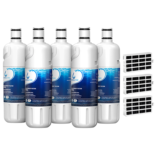 GlacialPure 5Pk Compatible with  Filter 2, EDR2RXD1, W10413645A with Air filter