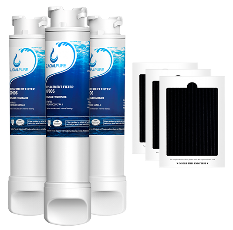 GlacialPure 3Pack  EPTWFU01 Refrigerator Water Filter Combo With PAULTRA Air Filter